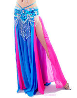 NEW Sexy Belly Dance Costume 2 layers with slit Chiffon Skirt Dress 13 Colors