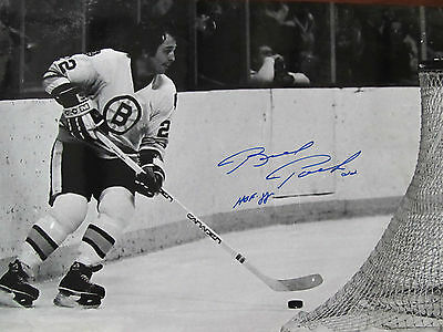 NHL BOSTON BRUINS BRAD PARK 22  HAND-SIGNED 12x18 B&W ACTION PHOTO HALL OF FAMER