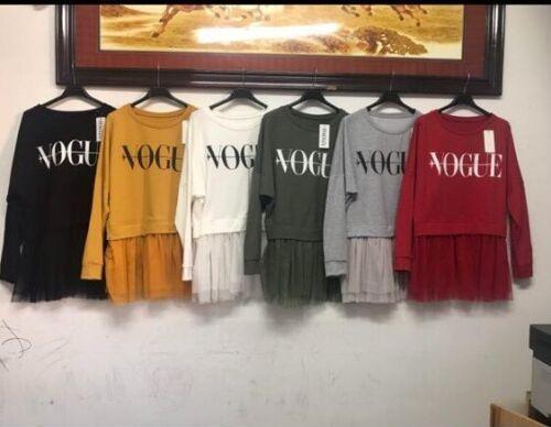Women/'s Ladies Black Printed Vogue Paris Tulle Mesh Sleeve Frill T-Shirt Top New