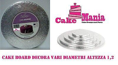 SOTTOTORTA TONDO DECORA CAKEBOARD IN CARTONE PER TORTE DA CAKE DESIGN ARGENTO