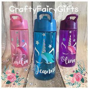 Botella-de-Agua-Ninos-Personalizado-Bebida-Paja-400ml-Posh-Unicornio-todos-los-colores-en