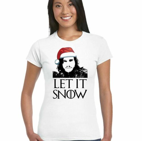 Noël let it snow jeu des trônes Inspiré T-Shirt femme Jon John Secret Santa