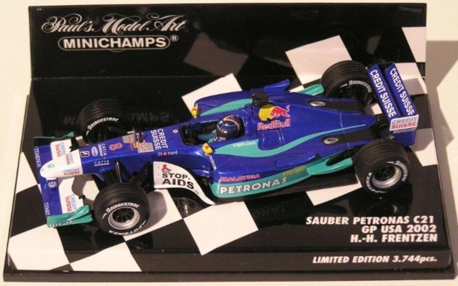 Wow extrêmement rare Sauber C21 Petronas H.H. Frentzen USA GP 2002 1 43 Minichamps