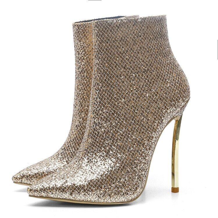 Women Pointy Toe Stilettos Heels Suede Zipper Ankle Boots Sexy Winter faux Shoes