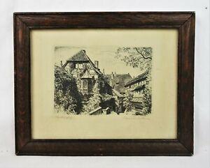 Antique-German-Etching-Print-of-Wartburghof-Signed-Max-Bruckner