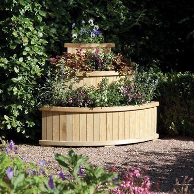 Rowlinson Garden Outdoor Wood Marberry 3 Tier Cascade Corner