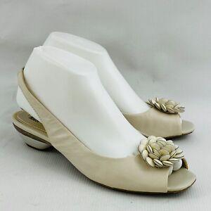 Womens-7-5M-Anne-Klein-Aklarna-Bone-Leather-Slingback-Shoes-Open-Toe-1-5-034-Heel
