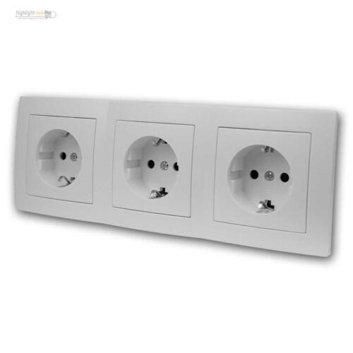 Unterputz Doppelsteckdose oder Dreifachsteckdose FLAIR weiß o anthrazit in Sets