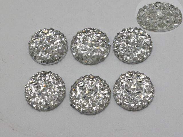 100 Clear Flatback Resin Round Cabochon Gems Pyramid Dotted Rhinestone 12mm