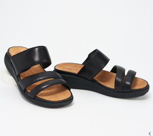 Details about Clarks Unstructured Leather Slide Sandals Un Bali Way Black Size 7 A352958 NEW