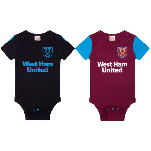 West Ham United FC Official Football Gift 2Pk Kit Baby Bodysuits
