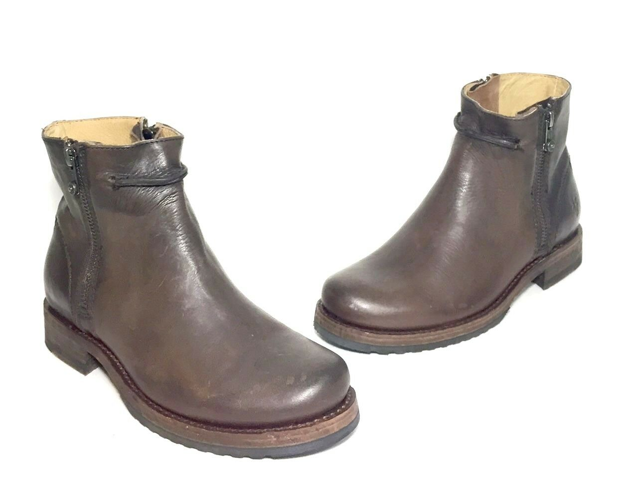 NEW $398 FRYE 3476 WOMEN VERONICA SEAM SHORT DARK BROWN LEATHER BOOT SIZE 6 B