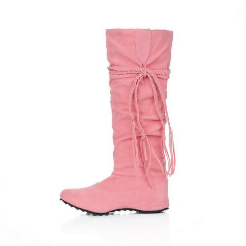 Womens Sweet Princess Knee High Boots Lace Up Hidden Wedge Heel Casual Shoes New