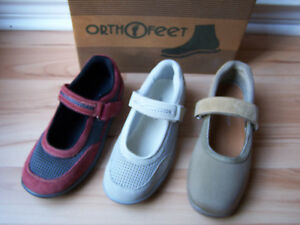 Orthofeet-Mary-Jane-Orthotic-Chattanooga-Diabetic-Shoes-Red-Beige-Gray-7-5-8-5-W