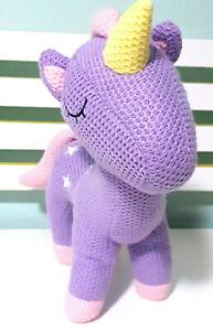 Kmart-Crochet-Style-Unicorn-Purple-amp-Pink-Plush-Toy-33cm-Tall