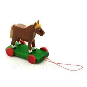 Miniature 1.12th Scale Dolls House Nursery Pull Along Horse On Wheels
