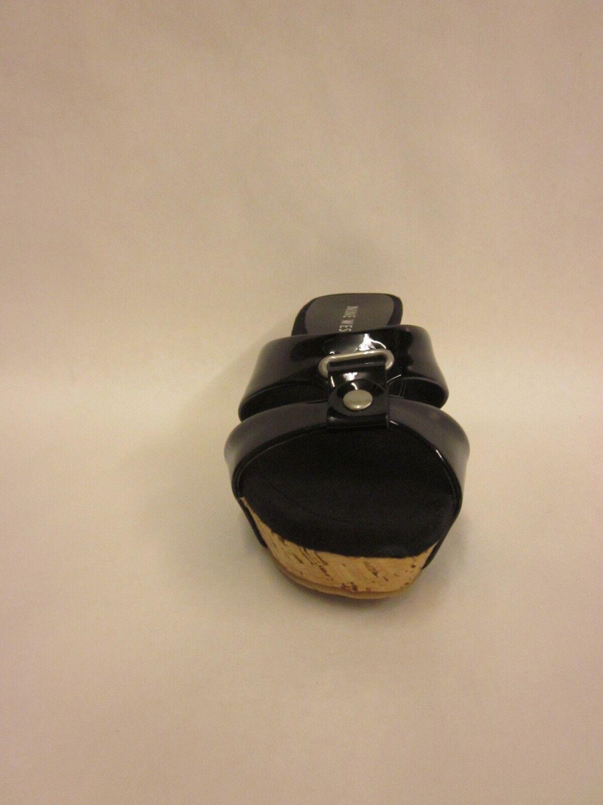 Nine West Mustsee Black Black Black Synthetic Wedge Sandal - Size 5.5 258948