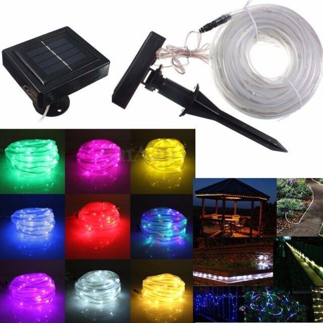 10M 100 LED Solar Rope Tube String Strip Light Lamp Xmas Party Decor Waterproof
