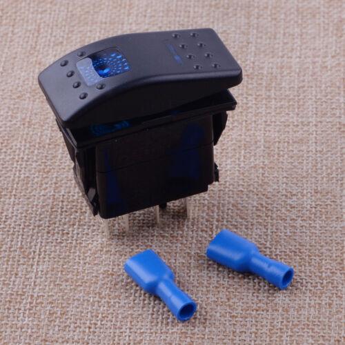 Marine Car Blue 7Pin LED DPDT 12V 24V DC ON-OFF-ON Momentary Rocker Switch New