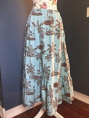 Disney Mickie Mouse Tiki Kingdom Blue Maxi Skirt Size Large L