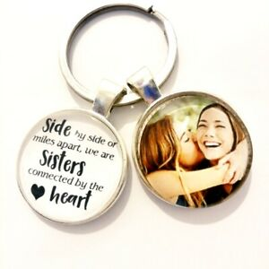 Personalised-Sister-photo-keyring-Gifts-connected-by-heart-Birthday-Presents