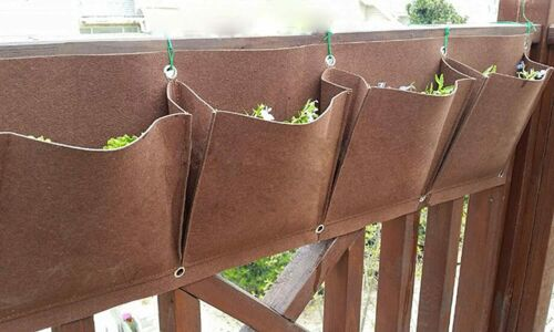 2 Pockets Horizontal Grow Bag Wool Felt Garden Hanging Wall Planters Brown Color
