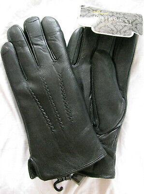 Herren Leder Lammfell Fingerhandschuhe aus Fellstücken schwarz Gr 7-11 Damen