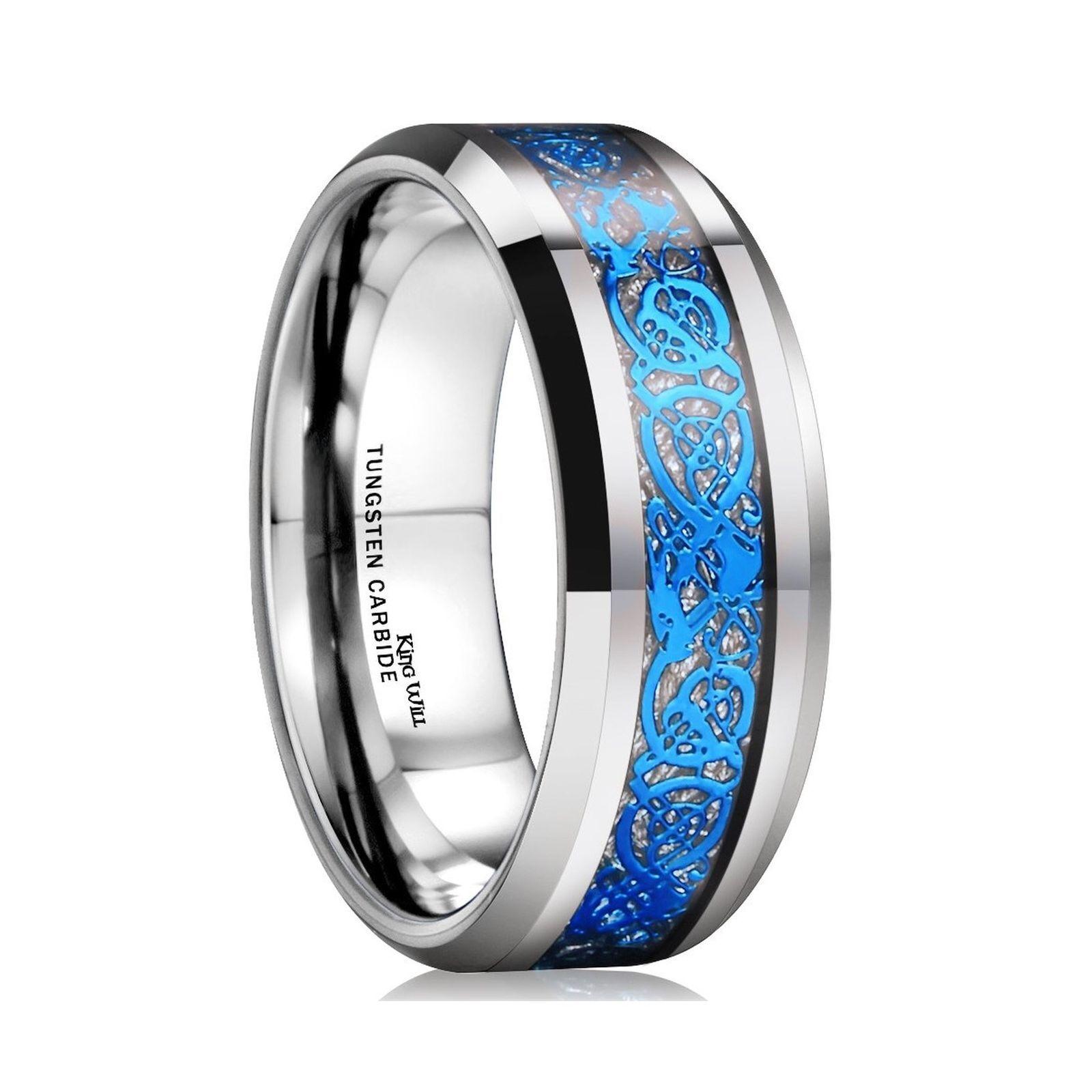 Men's Genuine Tungsten Carbide Wedding Ring bluee Celtic Imitated Meteorite Inlay
