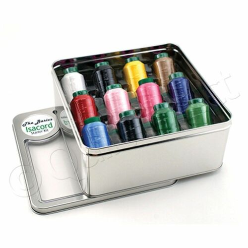 Isacord Basic Assorted Sewing Threads Tin Box 12 Different Colors 1000m Spools