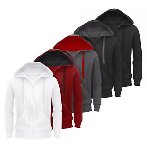 New-Plain-Mens-Hoodie-American-Fleece-Zip-Up-Jacket-Sweatshirt-Hooded-Top-Casual