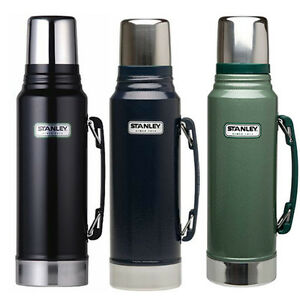 stanley classic drinks flask 1 litre stainless steel black green 1l new thermos. Black Bedroom Furniture Sets. Home Design Ideas