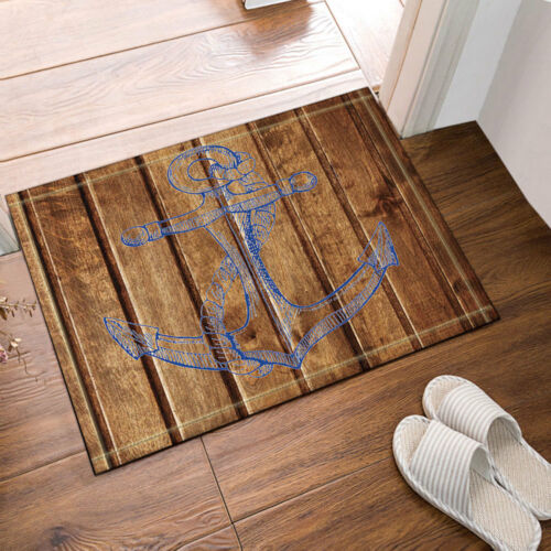 Nautical Anchor Wooden Deck Bathroom Waterproof Fabric Shower Curtain /& 12 Hooks