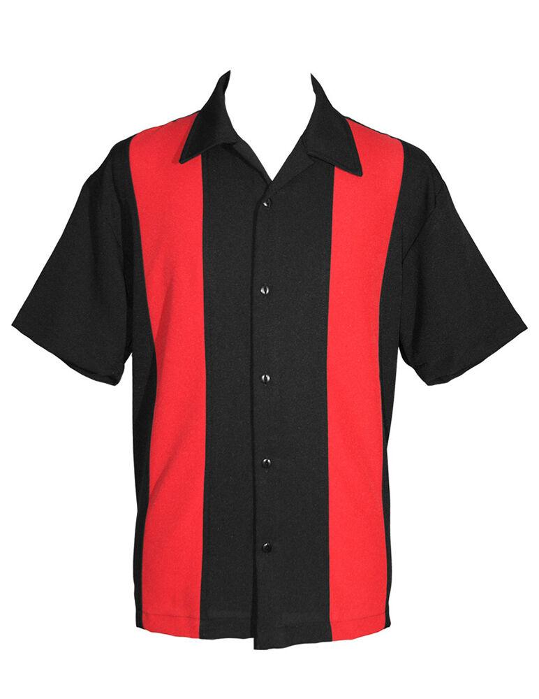 Camicia Rockabilly-Linea Uomo Camicia Da Bowling-Rosso pannelli - 1950s-Stile Retrò Vintage