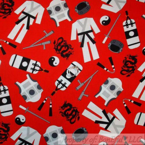 BonEful Fabric FQ Cotton Quilt Red Black White B/&W Ninja Karate Costume Boy Girl