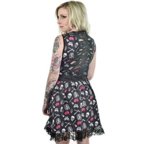 Too Fast Anatomy Skeleton /& Crossbones Lace Ribcage Design Black Gothic Dress