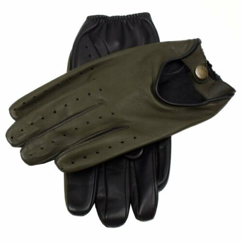 Dents Woburn Leather Driving Gloves Contrast Black/Hunter Heritage Collection