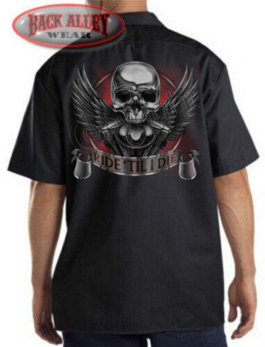 Ride til I Die Skull Mechanics Work Shirt Biker M-3XL Wings /& Engine Motorcycle