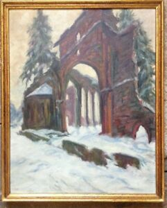 Abbey-Ruins-All-Saints-oppenau-in-the-Black-Forest-Oil-Paintings-1924-Sign-Long