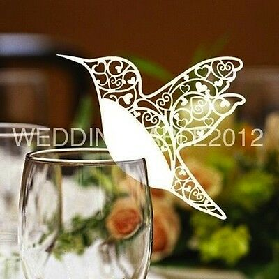 Humming Bird Glass Place Cards Laser Cut on Pearlescent Card 6 Colours, Wedding