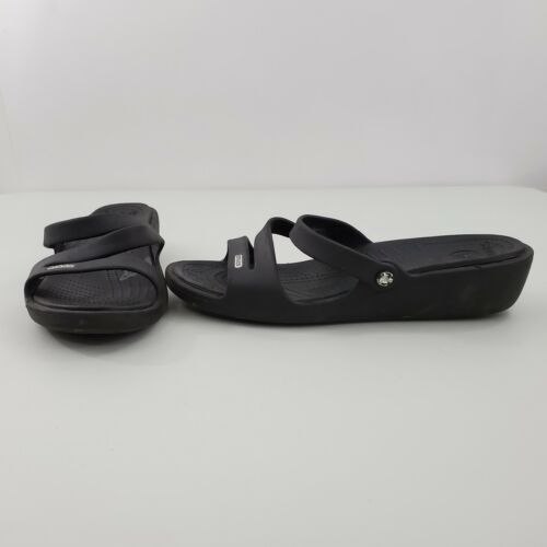 Crocs Patricia Sandals 10 Black Strappy Slides Pla