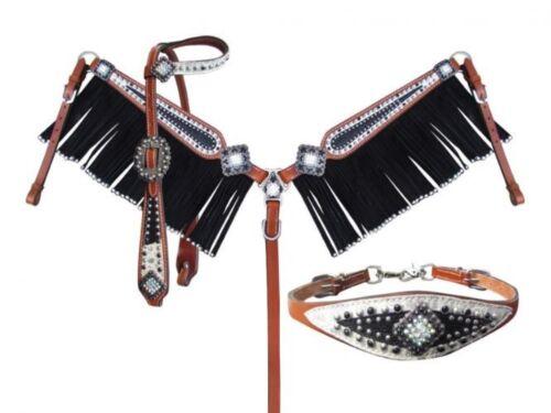 SHOWMAN 4 Pièce Stingray et filigrane éperons et Fringe Breast collar Set!