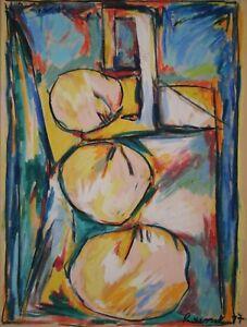 Francoise-Rousset-Dessin-signee-Composition-coloree