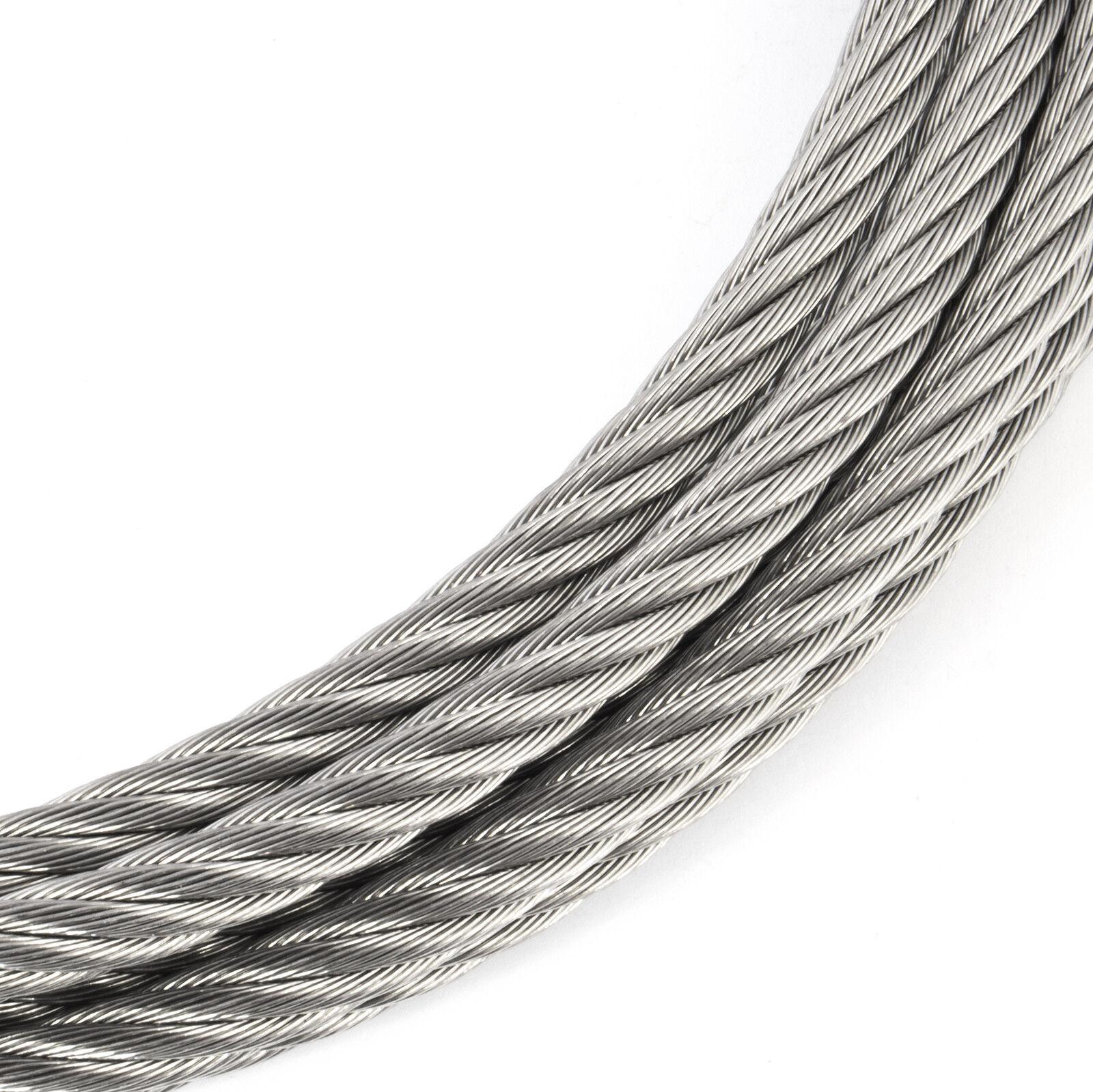 6mm CABLE DE ACERO INOXIDABLE hilo tejido cuerda de alambre metal V4A marina