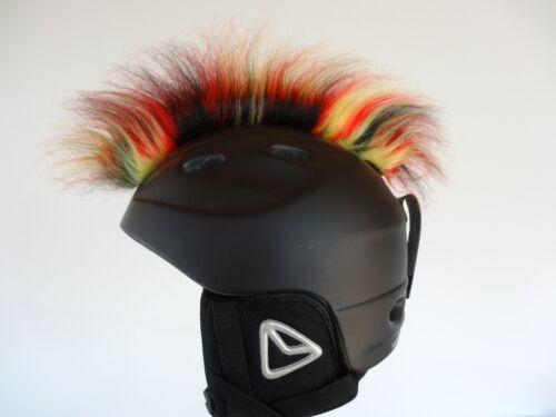 Irokese Helm Skihelm gelb rot schwarz  Hörner Ski Snowboard Helmirokese Haarteil