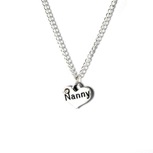 Nanny Regalo Collar de Corazón de Plata Plateado Cadena Diamante Amigo Familia Hermana Tía