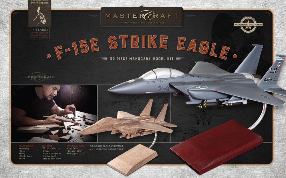 F -15 Fighter JET RTA SOLD MAHOGANY trä modellllerL KIT skala  1  42