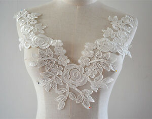 Off white lace motif embroidery lace applique sew on wedding
