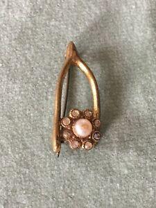 Antigua-victoriana-Antique-Victorian-Wishbone-Broche-1900s-1910s-Pasta-Piedras-de-Cristal-Perlas-de