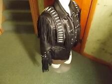 Leather Gallery Western Fringe Beaded Women's Motorcycle Jacket Size Medium