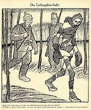 1915 Karl Arnold Kriegsflugblatt * Der Liebesgaben- Inder *  WW1